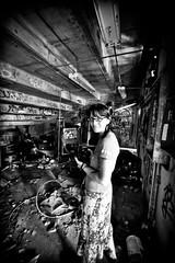 Order Out of Chaos (Thomas Hawk) Tags: bw usa abandoned graffiti unitedstates florida miami unitedstatesofamerica marinestadium virginiakey miamimarinestadium shannonjackson shannonjax