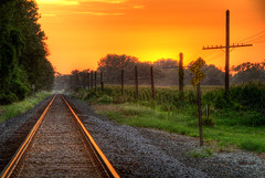 Beginning (DrMarciana) Tags: railroad sunset lawrence traintracks beginning kansas hdr railroadtracks kansas150