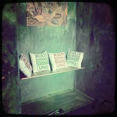 KultiWIRung: Das Seitenhaus präsentiert sich den Besucher_innen. Die Oase im Seitenhaus. KultiWIRungskissen zum Kaufen und lieb haben! (es gibt noch ein paar!)