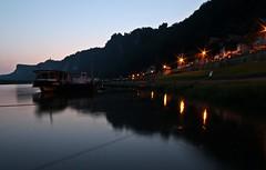 Abendlicher Blick von Rathen auf die Bastei (solar.empire) Tags: river evening abend saxony sachsen fluss bastei rathen