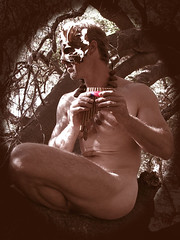 Faun Sepia (Robear in Ojai) Tags: mask masks pan fairies satyr greenman faun fauns panflute satyrs