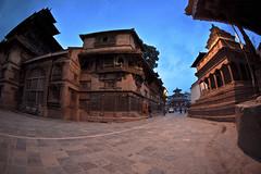 Durbar Sq. at dawn, Kathmandu (gerdaindc) Tags: blue nepal sunrise dawn asia seasia empty earlymorning wideangle fisheye kathmandu desolate deserted durbarsquare
