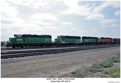 BNSF 2367, 2825, 2725 & 2354 (Robert W. Thomson) Tags: railroad train montana diesel greatfalls railway trains locomotive trainengine bnsf geep emd gp382 burlingtonnorthernsantafe gp38 gp30 gp392 gp39m gp39 fouraxle