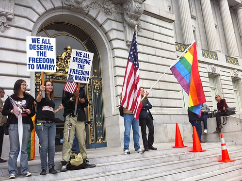 Still waiting for #Prop8 stay decision outside City Hall