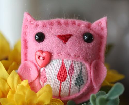 Pink drops owl brooch