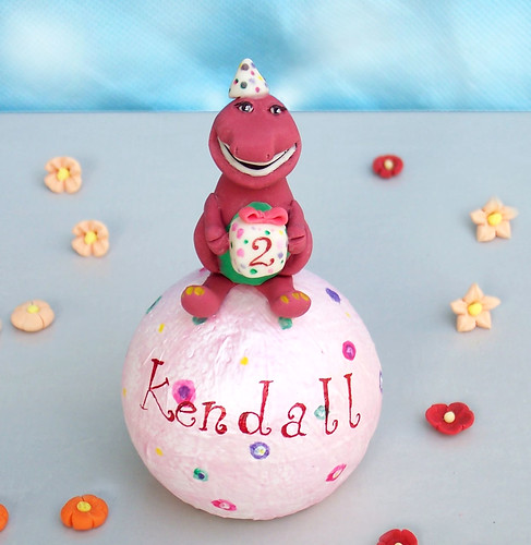 Personalized Barney birthday cake topper -Handmade
