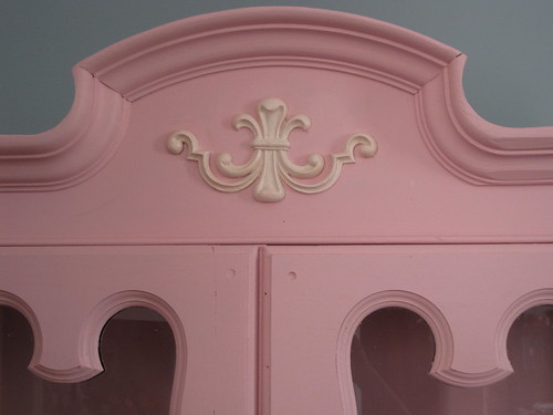 Painted China Cabinet, Pink, Finished 3