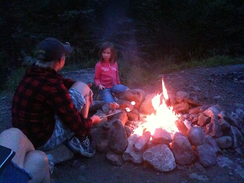 Cooking marshmallows by the fire by Wesley Fryer, on Flickr