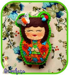 Brocheki Mariposa de Verano N 1 (Brocheta) Tags: flores broche mariposa kokeshi naranja fieltro brocheki