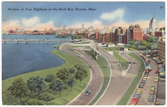Section of New Highway in the Back Bay, Boston, Mass. [front] (Boston Public Library) Tags: charlesriver postcards massavebridge storrowdrive greetingsfromboston