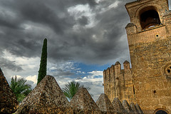 Cloudy sky over the Royal Alcazar in Cordoba, Spain