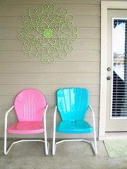 Let's paint that ugly wrought iron, shall we? (KnockKnocking) Tags: new pink blue green home metal vintage austin chair orleans aqua iron paint candy outdoor painted inspired mint retro patio southern lime bouncer decor wrought