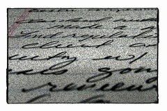 Handwriting Sample (artmadrigal) Tags: abstract art ink writing handwriting paper notes text cursive phrases