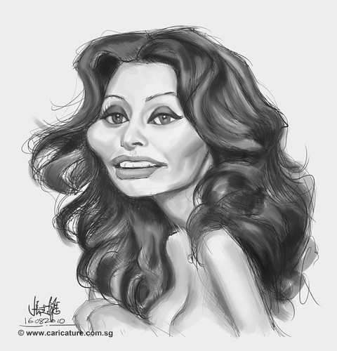 digital caricature of Sophia Loren - 1 small