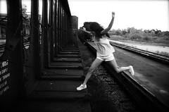 Jump (ClayStein) Tags: ohio contrast photoshop way high jump nikon cincinnati ducks rail fisheye clay saturation nikkor 18 stein carts railroads d2h 200mm cs3 blackwhitephotos d40x