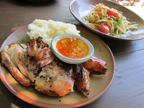 Sticky roast chicken with sticky rice and som tam