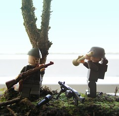 """Panzerfaust Attacke"" (ORRANGE.) Tags: amazing lego will hazel bonsai ww2 armory germans panzerfaust mg42 stahlhelm kar98 brickarms stillgranate"