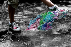 Bleeding Converse Colors (Erurainon) Tags: people white black color feet water shoes stream converse coloring brook splash selective selectivecoloring