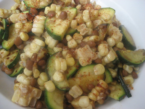 "Corn and zucchini ""stir fry"" with lentils"
