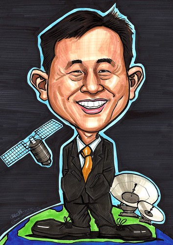 Ken Lokey's caricature - space and satellite A3