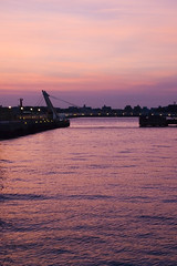 Mojiko Draw Bridge (pokoroto) Tags: bridge sunset summer sky water silhouette japan august  draw fukuoka kyushu mojiko 2010  8   hachigatsu  longmonth kitakysh  nagatsuki 22