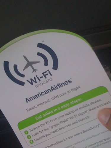 American Airlines Gogo inflight wifi instructions