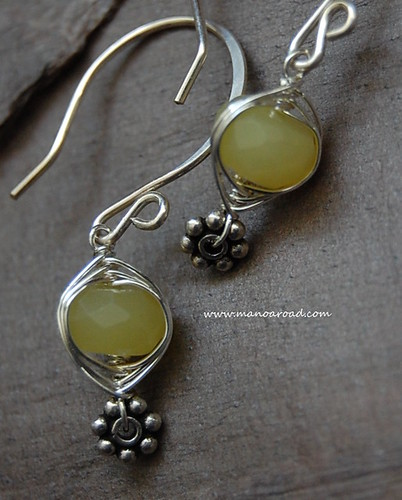 Harmony Earrings in Olive Jade & Sterling Silver by manoaroad