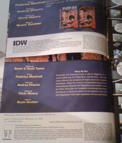 "Comparing IDW and WP ""Star Trek"" inside covers"