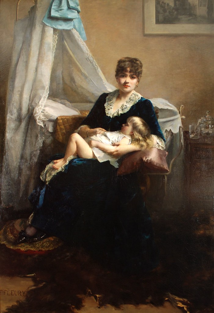 Fanny Fluery (French, 1848-1920) Bebe dort (1884) 83 X 57 in. Oil on canvas. Anthony's Fine Art, Salt Lake City, UT