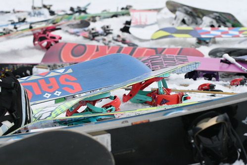 Snowboards in the snow - Laax,  Switzerland March 2010