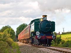 Pannier in the Tiffey Valley. (Gerry Balding) Tags: england train track smoke norfolk engine steam rails locomotive eastanglia wymondham tankengine gwr panniertank tiffeyvalley 9466 uksteam midnorfolkrailway