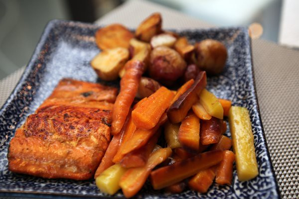 salmon, carrots, potatoes