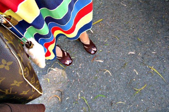 summer dress+miu miu sandals+louis vuitton speedy