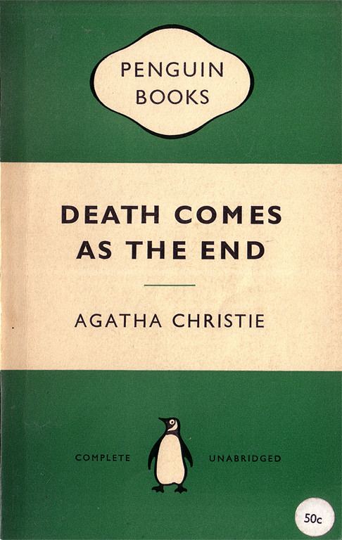 Penguin Books cover for 'Death comes as the end' (1958)