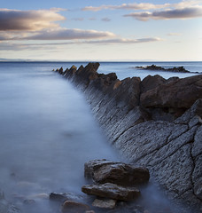 Fife East Neuk Coastline (ajnabeee) Tags: ocean longexposure blue sea seascape motion blur beach water clouds river coast scotland rocks waves fife scottish pebbles tay forth shore lee waterblur rugged firthofforth eastneuk 10stop nd1000 nd10 bigstopper shahbazmajeed