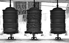 Prayer wheels (fanz) Tags: nepal bw movement praying wheels spinning kagbeni