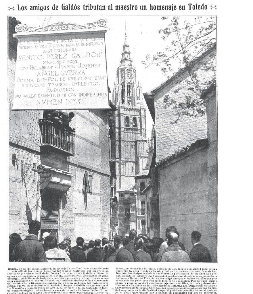 Descubrimiento de la placa en homenaje a Galdós en la Calle Santa Isabel de Toledo el 27 de abril de 1923. Fotografía de Javier Marañón para Mundo Gráfico