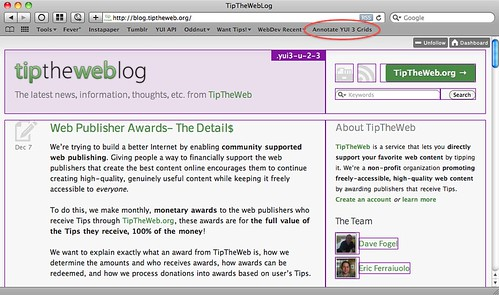 TipTheWeb Blog annotated showing YUI 3 CSS Grids