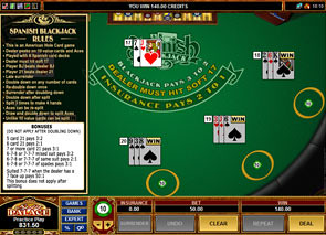 Multi Hand Spanish 21 Blackjack Rules