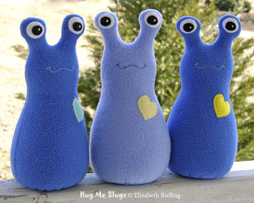 Royal blue and cornflower blue fleece Hug Me Slugs by Elizabeth Ruffing