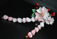 My Romance. Pink Sakura Kanzashi on Hair Stick. (Bright Wish Kanzashi) Tags: pink white gold handmade sakura hairpin  accessory bobbypin kanzashi  tsumamikanzashi