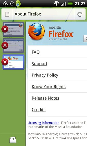 Screenshot of Mobile Firefox, on HTC Desire