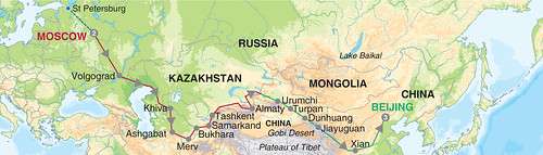 Map of the Silk Road luxury train tour