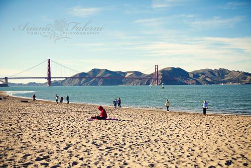 Beach...land Miz Boo poiting to Alcatraz!