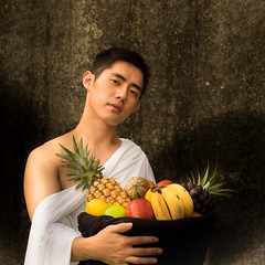 Basket of Fruit with a Boy (RZtp) Tags: caravaggio fruit man asian