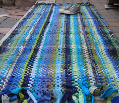Handwoven Recycled T-Shirt Rug (fiveforty) Tags: recycled blues housewares greens rug tshirts ecofriendly handwoven ragrug fiveforty