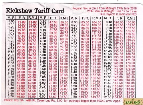 Rickshaw Tariff Fare