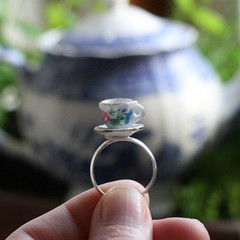 Tiny Rose Tea Cup and Saucer Porcelain Ring (Strawberry Anarchy) Tags: roses cute cup rose metal alice kitsch jewelry ring tiny teacup wonderland porcelain teapartyquirkyjewellerycutekawaiikitschstrawberryanarchyetsyfolksyuniqueooakmoopollypockets