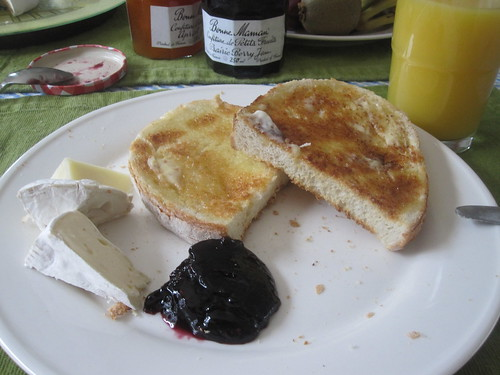 toasts with butter, jam, cheese, oj at Dad's