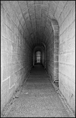 Tunnel (Bosquet) Tags: light shadow blackandwhite bw black paris france history lines museum architecture buildings hospital dark concrete army grey nikon bars shadows tomb gray shapes structures tunnel cage grayscale shape tones tone tombs lesinvalides veterans greyscale crypts d80 nikond80